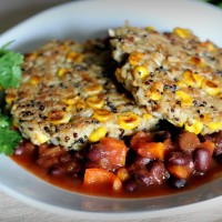 Rice and Quinoa Corn Cakes with Black Bean Salsa