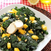 Black Kale & Mango Salad with Walnut Crusted Goat Cheese
