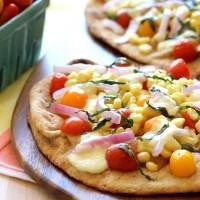 Roasted Corn & Tomato Naan Pizzas with Burrata Cheese