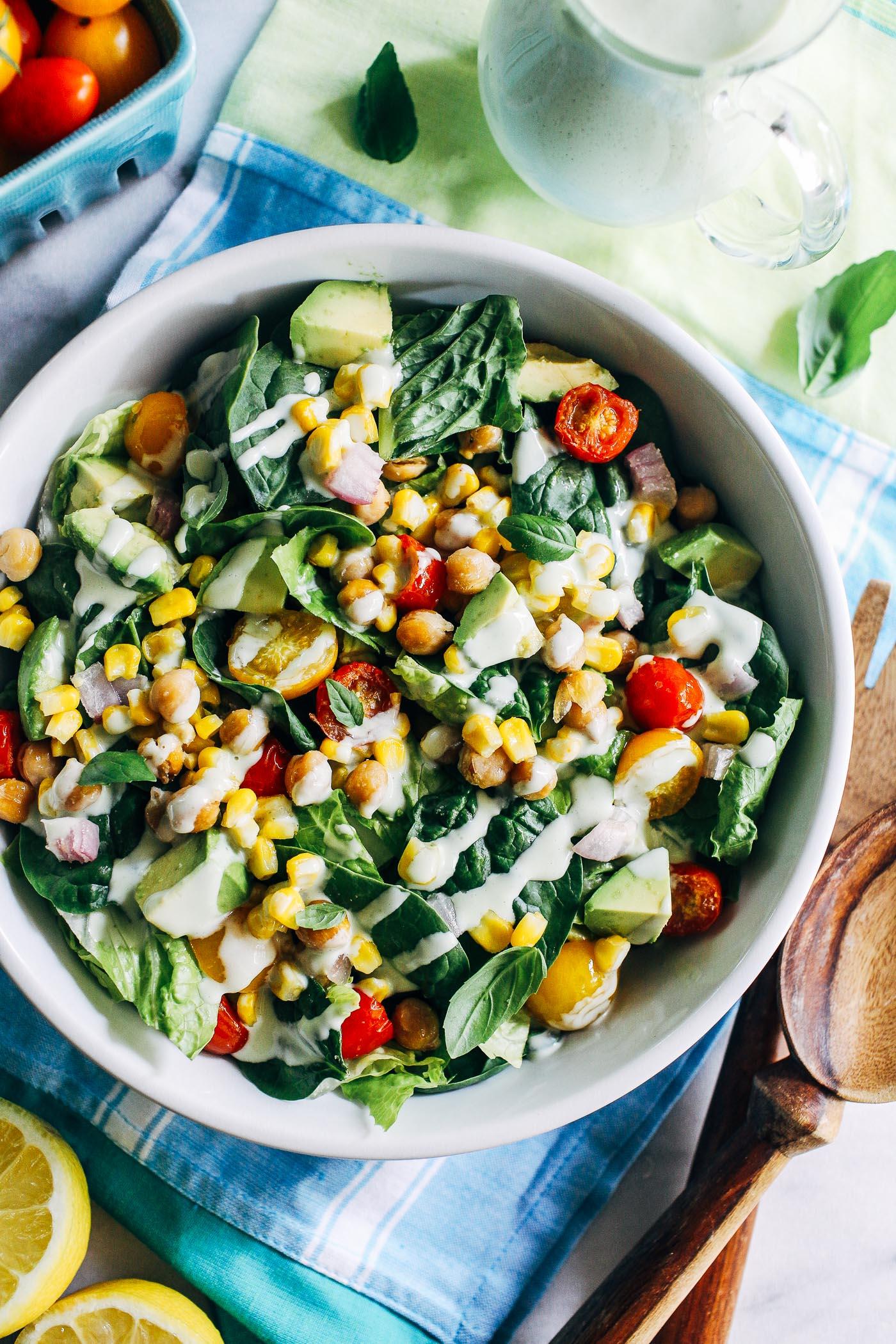 Best Summer Street Style: Roasted Corn Tomato Summer Salad With Lemon-Basil Yogurt