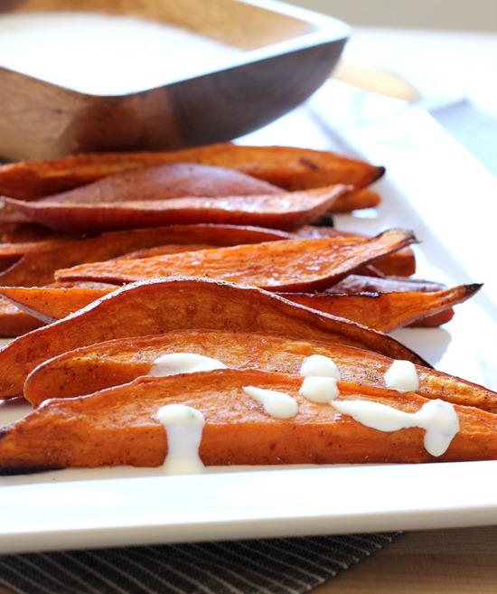Sweet Potato Wedges with Lemongrass Yogurt Dip (132)