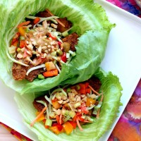 Peanut Sauce Tempeh Lettuce Wraps