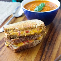 Grilled Pimento Cheese with Roasted Heirloom Tomato Soup