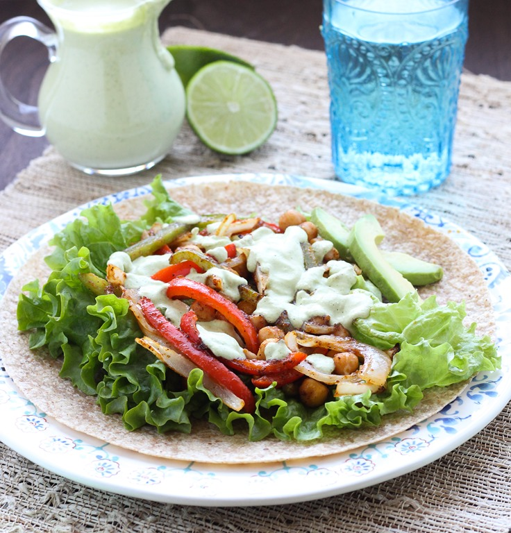 Roasted Chickpea Fajitas with Cilantro Cashew Crema
