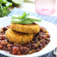 Sweet Potato Quinoa Fritters with Black Bean Salsa