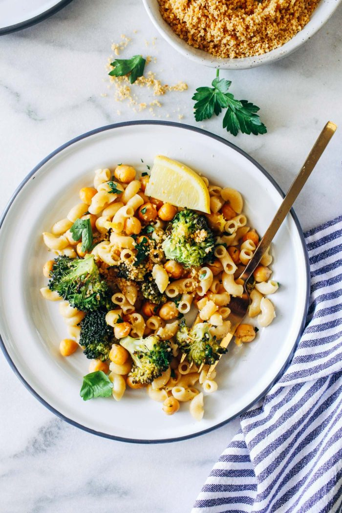Roasted Broccoli and Chickpea Lemon Pasta from Making Thyme for Health