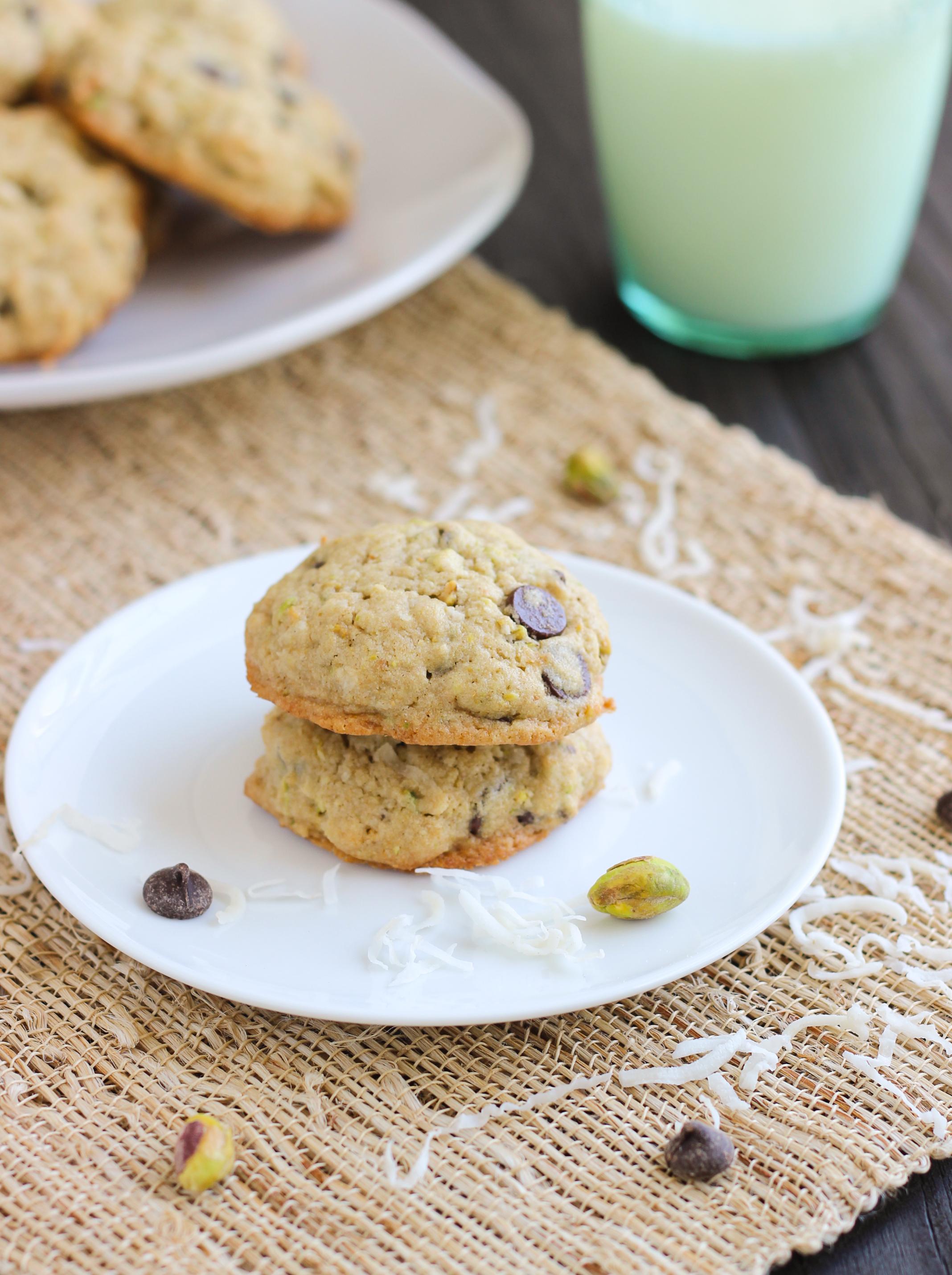 Chocolate Chip Coconut Pistachio Cookies
