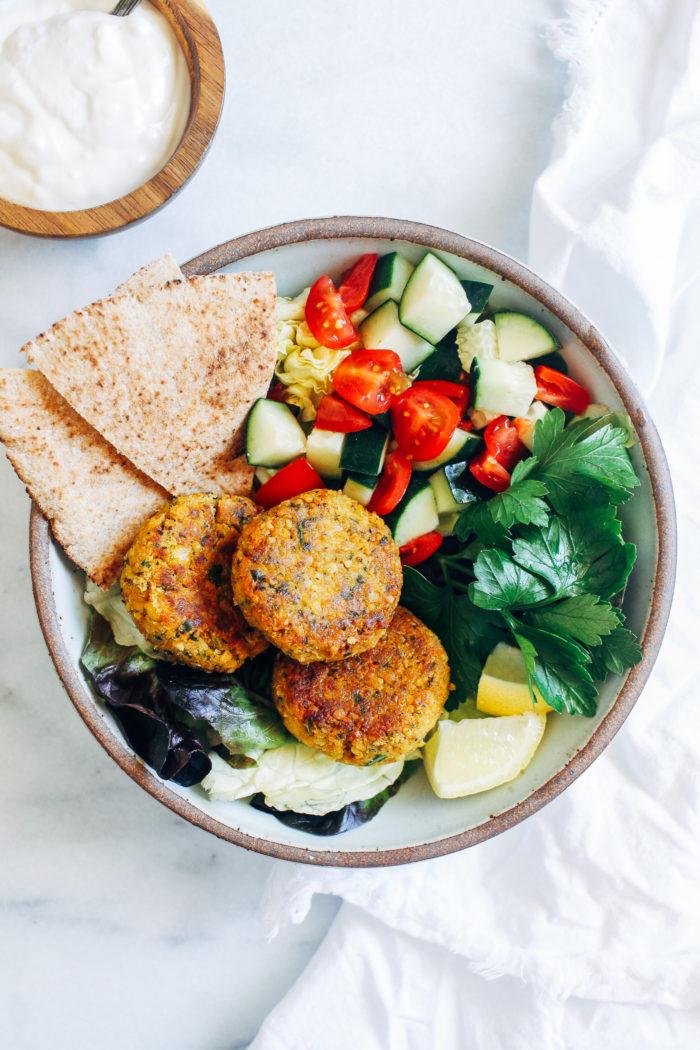 Gluten-free Falafel with Lemon Yogurt Sauce from Making Thyme for Health