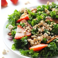 Strawberry Kale Salad with Tempeh Bacon