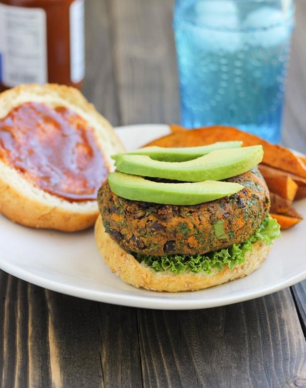 BBQ Black Bean, Kale & Sweet Potato Burgers + A Giveaway!