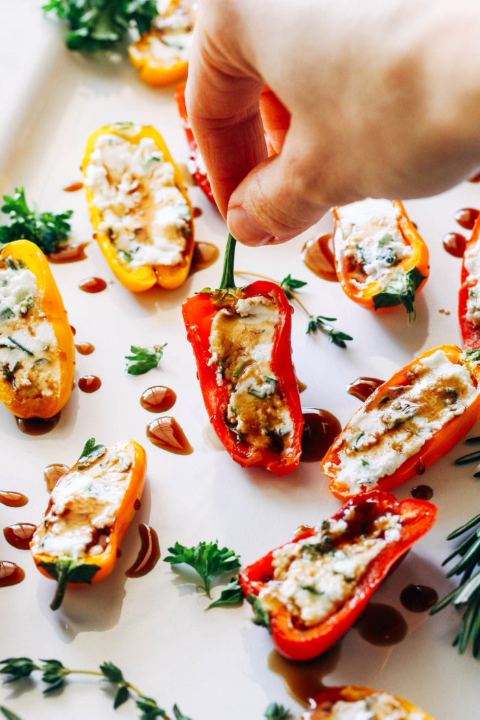 Herbed Cheese Stuffed Mini Sweet Peppers- just 3 ingredients and 15 minutes for a flavorful appetizer that everyone will love!