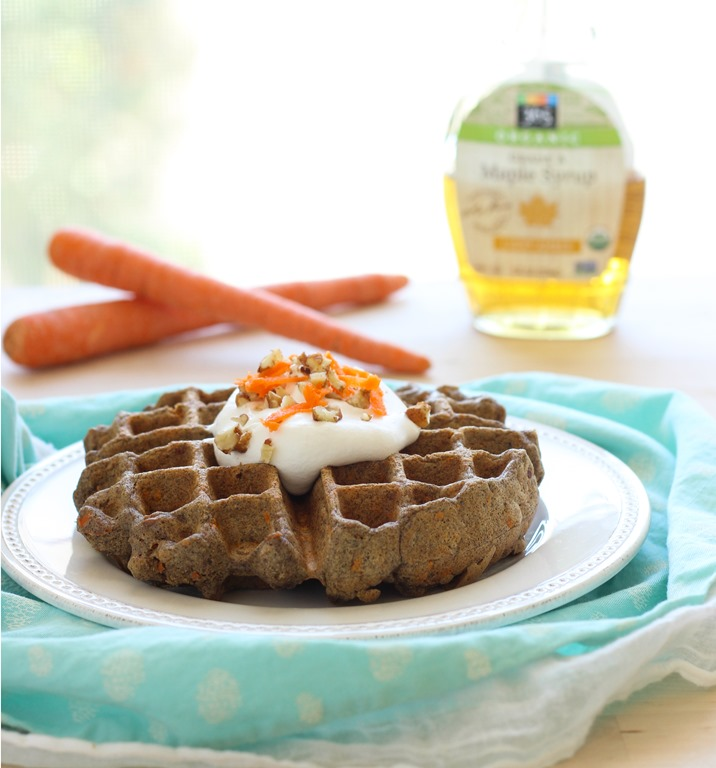 Carrot Cake Waffles- made with a blend of wholesome buckwheat and quinoa flours. Vegan and gluten-free!