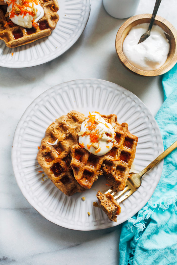 Carrot Cake Waffles- made with a blend of wholesome buckwheat and quinoa flours, these vegan waffles are packed full of satisfying protein and fiber. (plant-based + gluten-free)