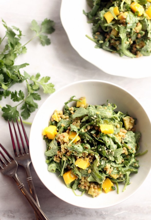 Mango, Wheat Berry and Arugula Salad with Cilantro Lime Dressing from Hummusapien