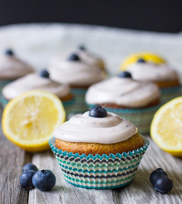 Lemon Cupcakes With Blueberry Icing Recipe — Dishmaps