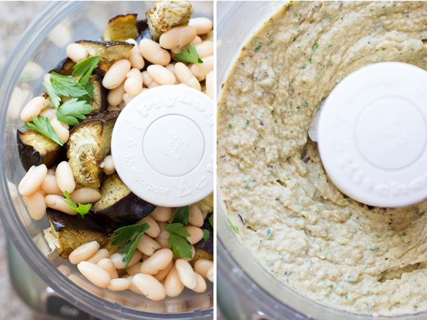 Roasted Eggplant White Bean Dip- roasted eggplant is blended with spices, lemon and fresh herbs for a dip that's incredibly delicious and creamy! (vegan and gluten-free)