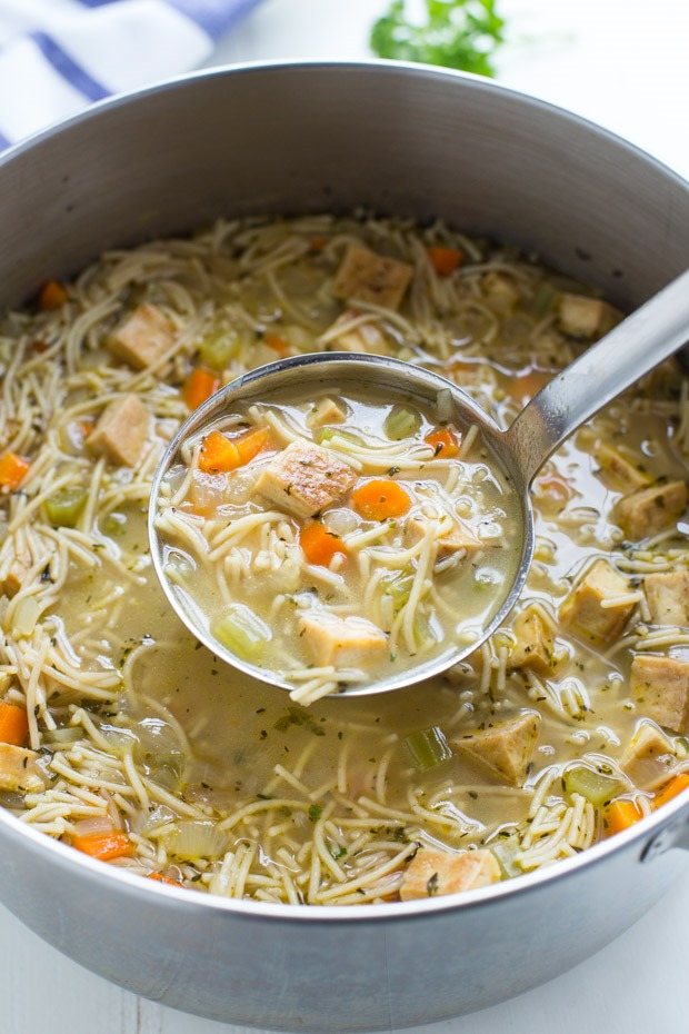 Tofu 'Chicken' Noodle Soup from Making Thyme for Health