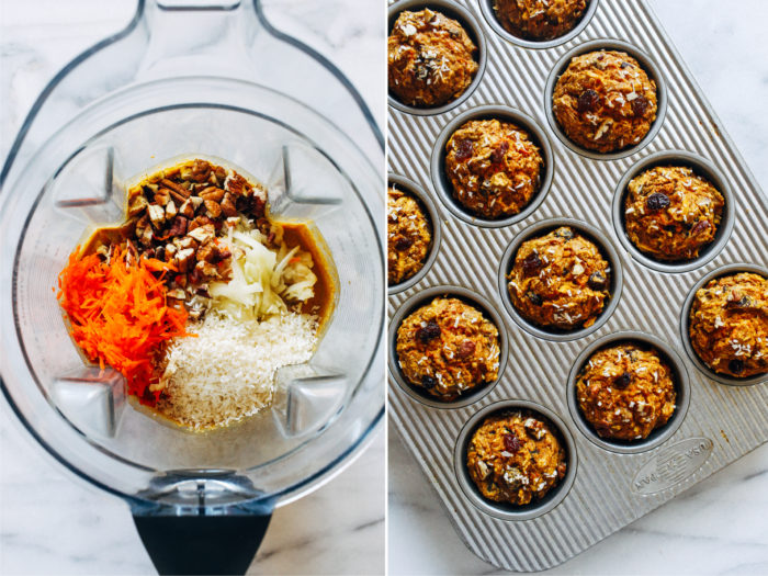Healthy Flourless Morning Glory Muffins- packed full of healthy fruits and veggies, these muffins make a perfect on-the-go breakfast. They also happen to be gluten-free, oil-free, dairy-free, and refined sugar-free!