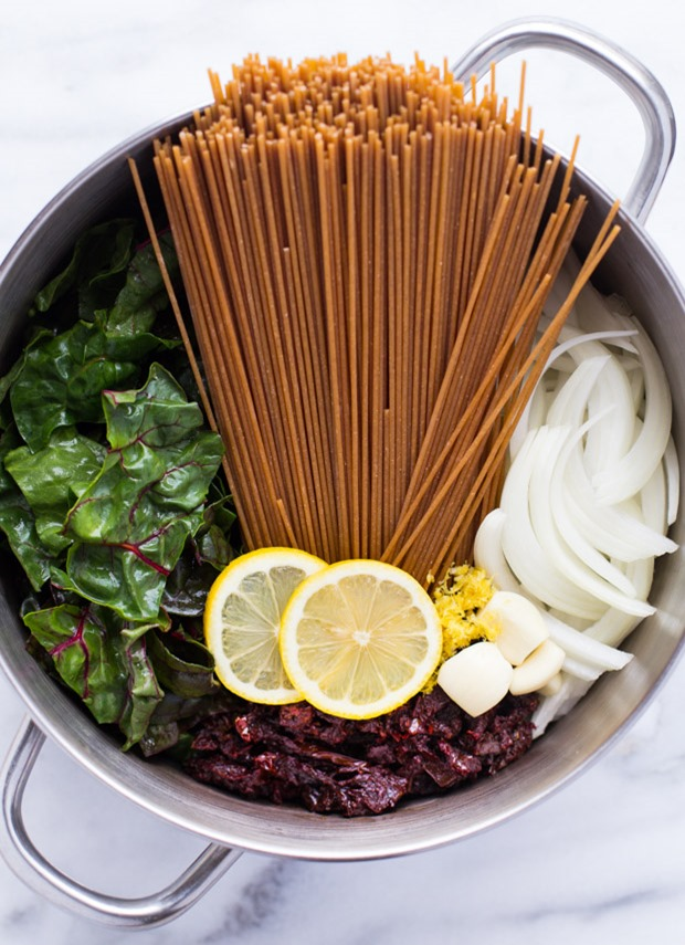 One-Pot Lemon Pasta with Greens and Sundried Tomatoes from Making Thyme for Health