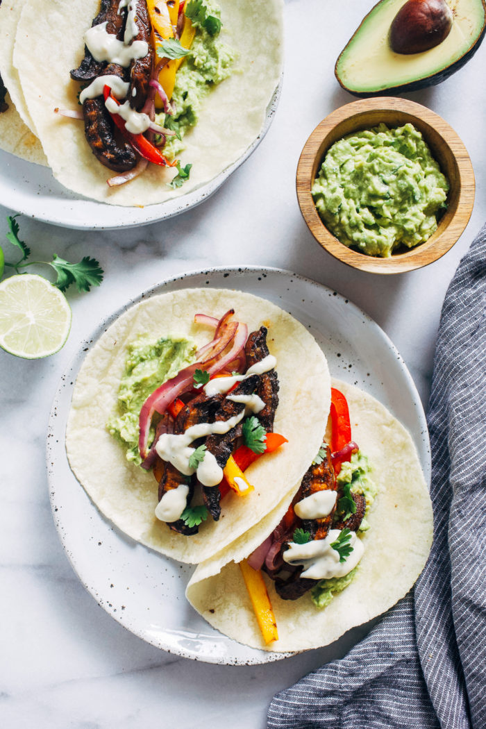 Grilled Portobello Mushroom Fajitas from Making Thyme for Health