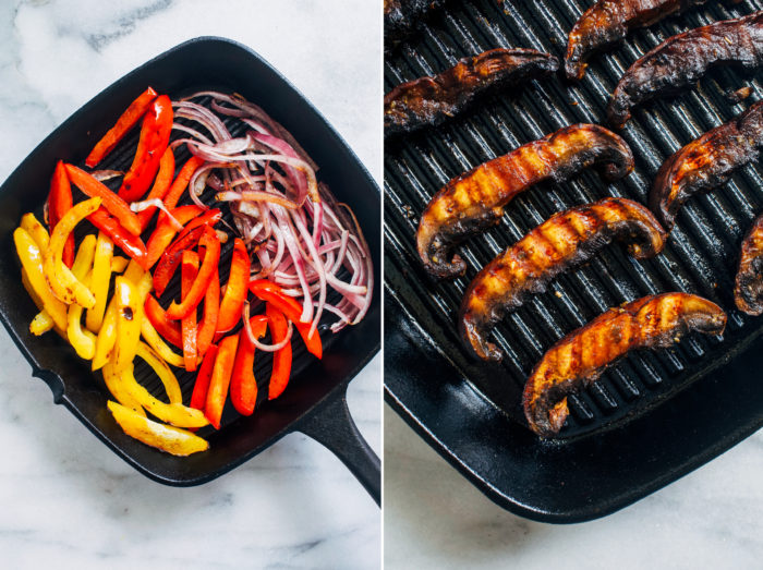 Grilled Portabello Mushroom Fajitas- marinated portabello mushrooms give these plant-based fajitas delicious meaty texture. Easy to make and ready in just 30 minutes!
