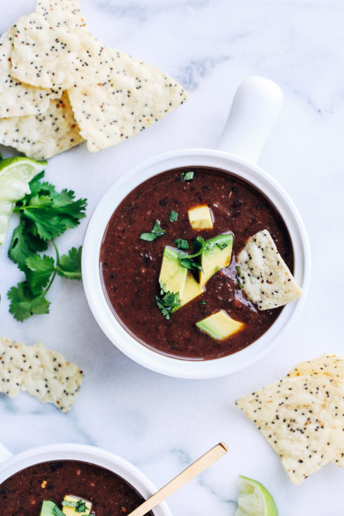 5-Ingredient Black Bean Soup from Making Thyme for Health