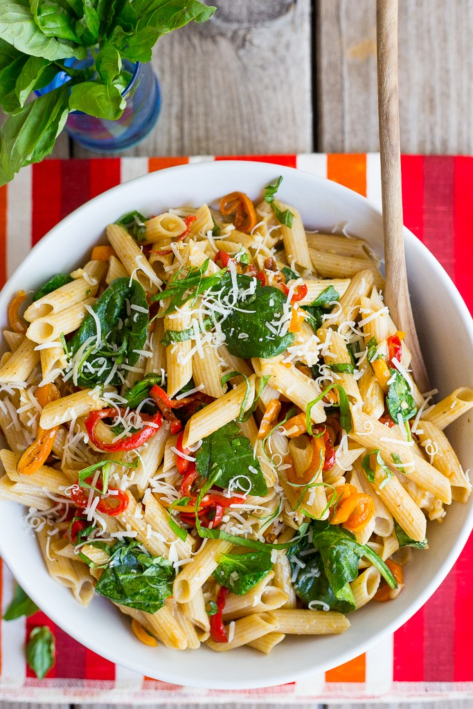 Balsamic Sweet Pepper Pasta with Spinach and Parmesan from She Likes Food