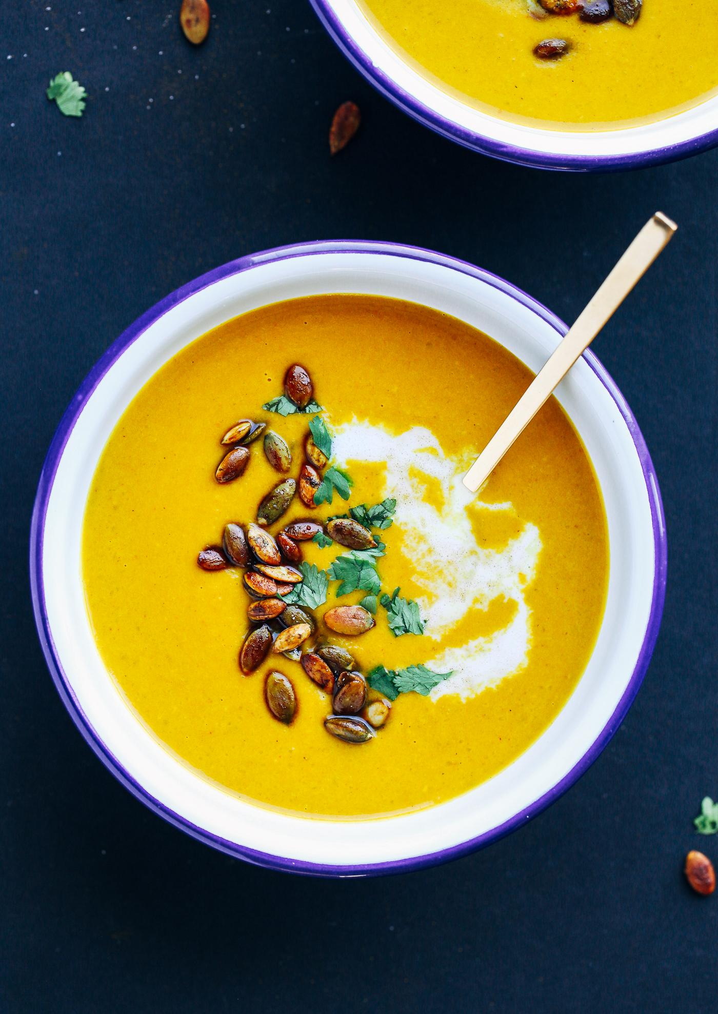 Easy Curried Pumpkin Soup with Tamari Pepitas - Making ...