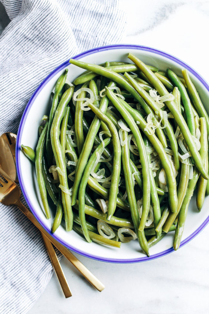 Simple Green Beans with Shallots and Olive Oil