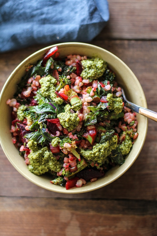 Broccoli Beet and Kale Brown Rice Bowls with Pesto from The Roasted Root