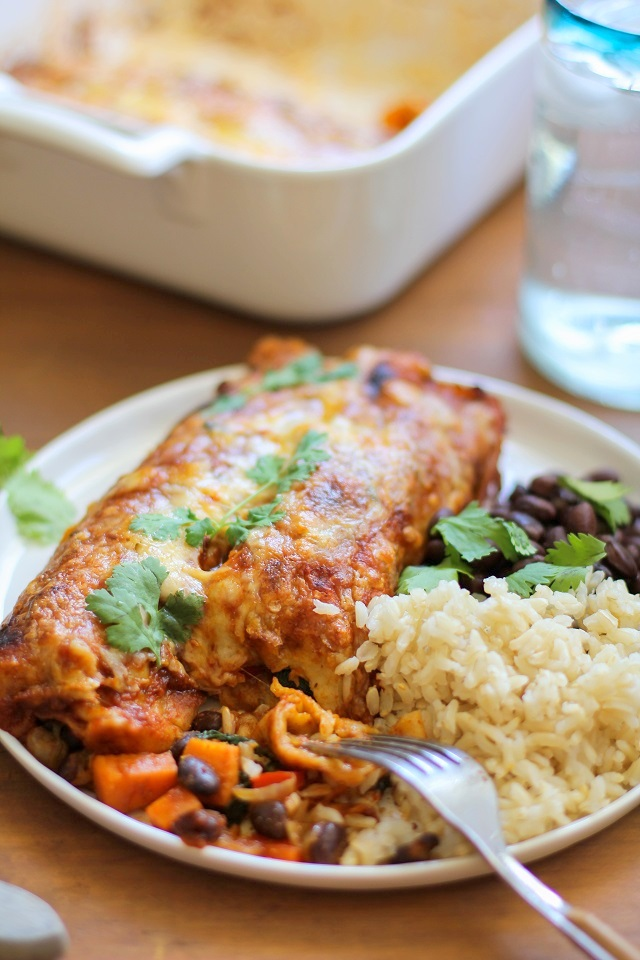 Small Batch Sweet Potato and Black Bean Enchiladas from The Roasted Root