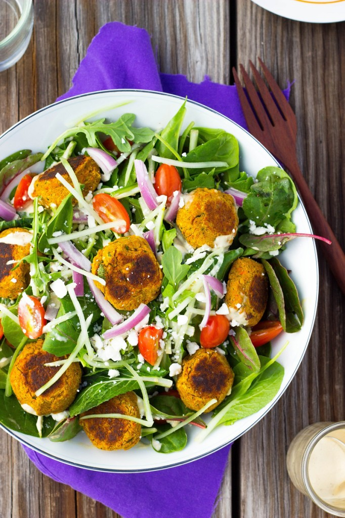 Roasted Carrot Falafel Salad from She Likes Food