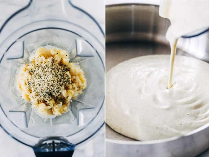 Cauliflower Hemp Alfredo- just 10 ingredients and 30 minutes for a healthy alfredo sauce that's packed full of vitamins and protein. Dairy-free and nut-free!