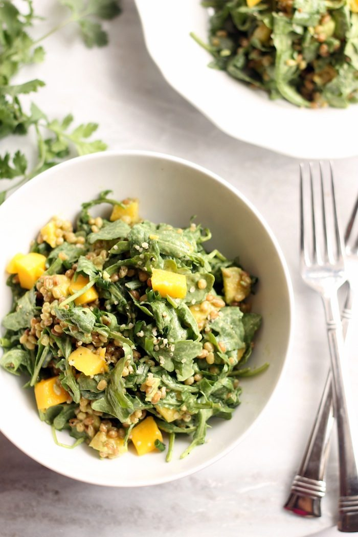 Mango, Wheatberry and Arugula Salad with Cilantro Lime Vinaigrette from Hummusapien