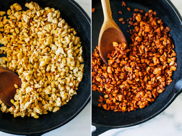Easy Tempeh Bacon Bits- just 5 simple ingredients is all you need to make these delicious meatless bacon bits. Perfect for topping salads, pasta, and pizza! (vegan, gluten-free)
