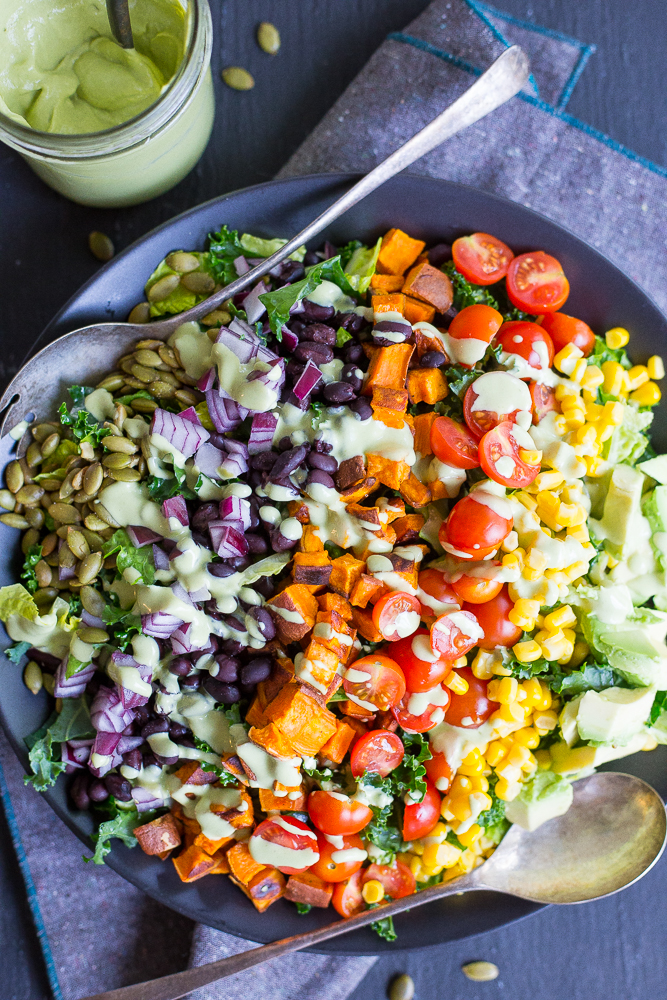 Southwestern Power Salad with Creamy Cilantro Lime Dressing from She Likes Food