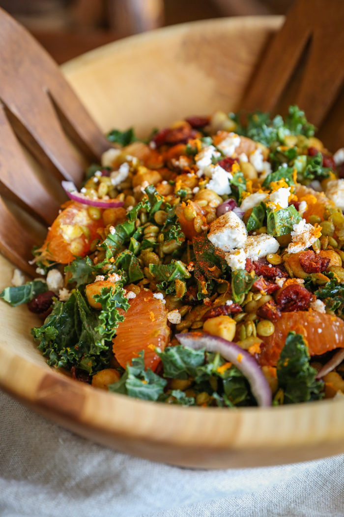 Curried Lentil, Chickpea, and Kale Salad with Citrus Dressing from The Roasted Root