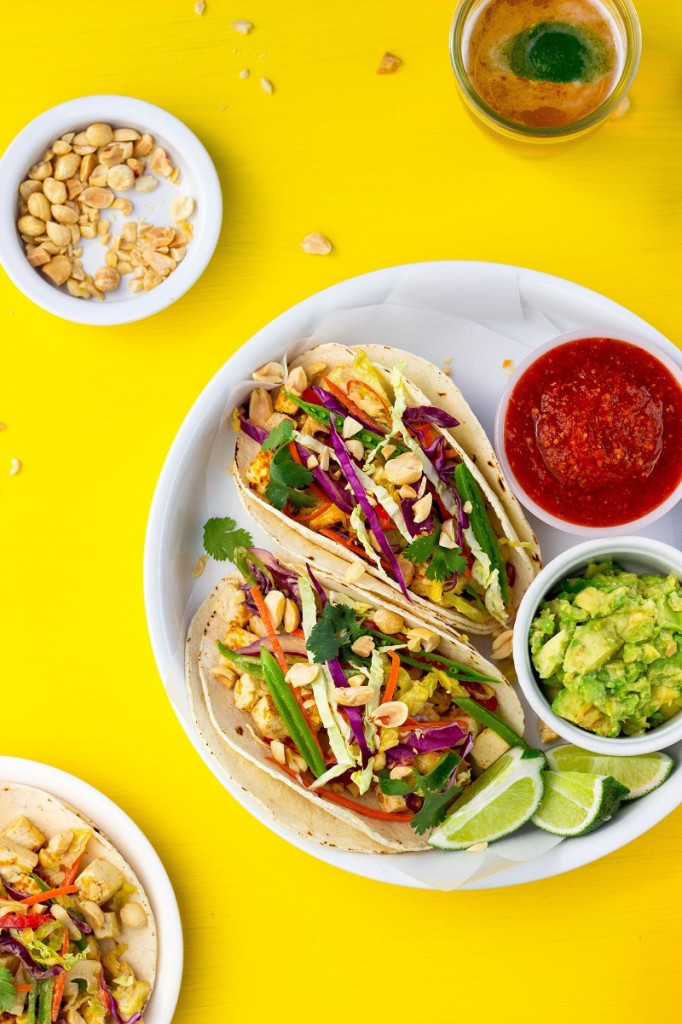 Citrus and Miso Marinated Tofu Tacos from She Likes Food