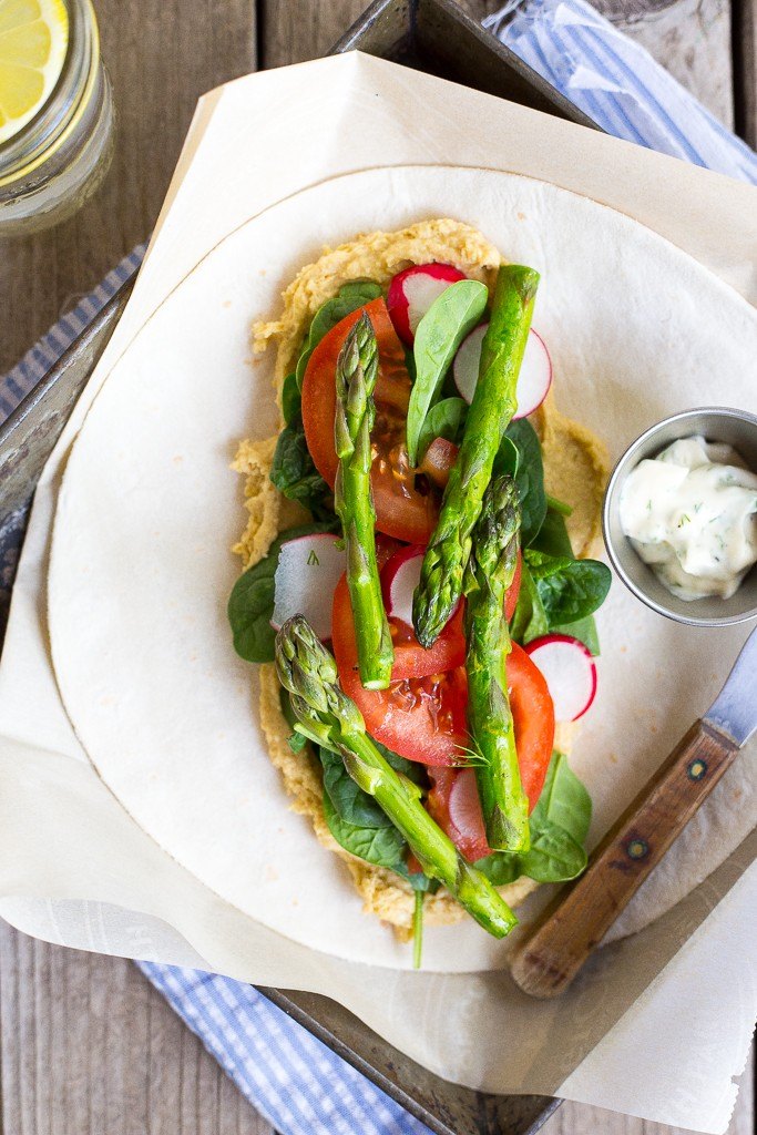 Spring Vegetable Hummus Wraps with Herbed Mayo from She Likes Food