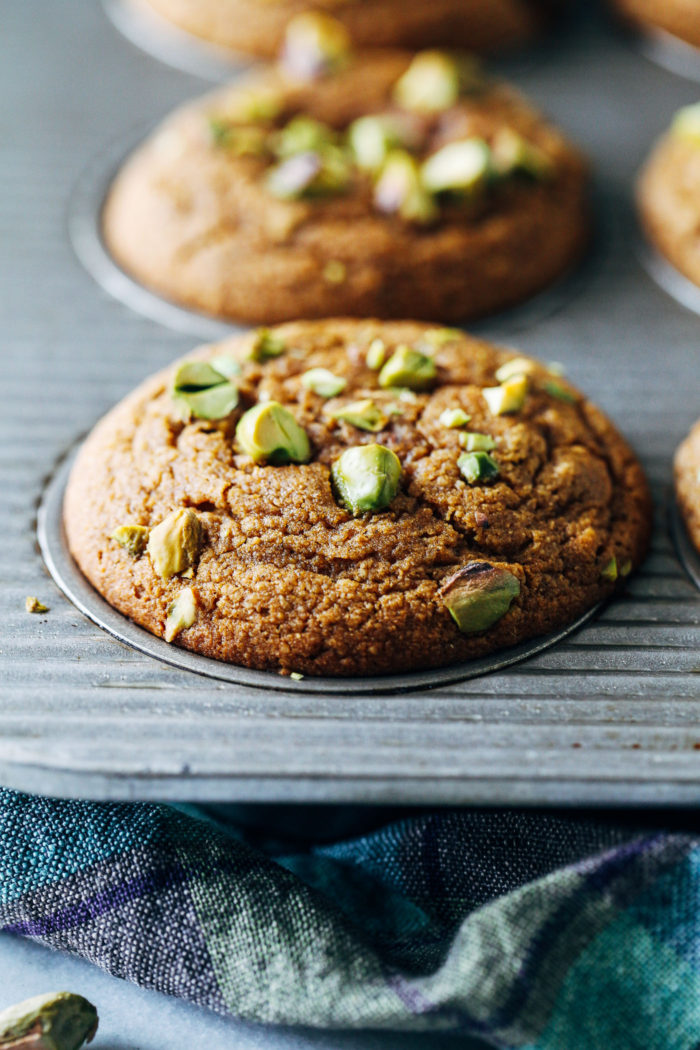 Pistachio Cardamom Muffins- naturally sweetened and made with wholesome ingredients. (vegan + gluten-free)