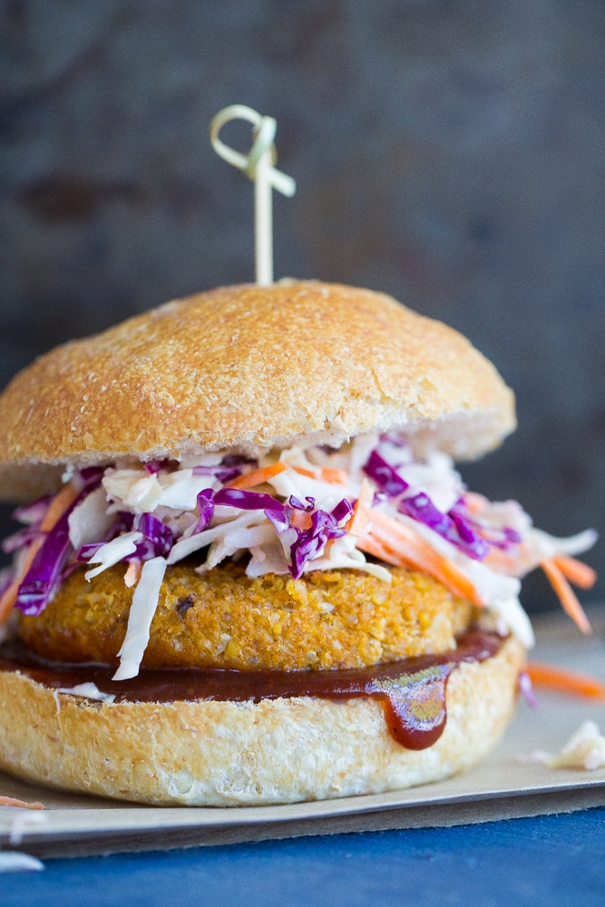 BBQ Cauliflower and Chickpea Veggie Burgers from She Likes Food