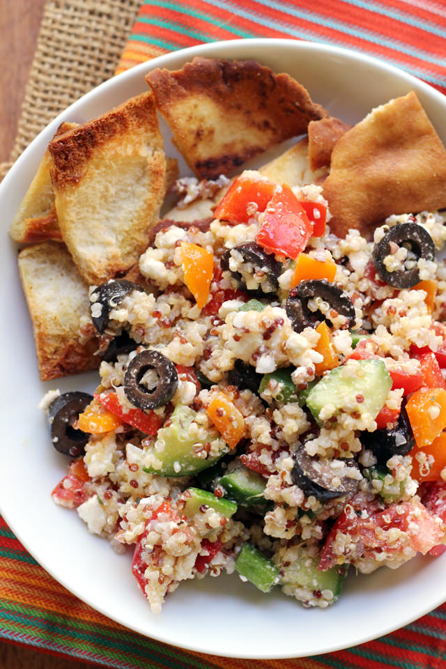 Greek Super Grains Salad with Homemade Pita Chips from Eats Well With Others