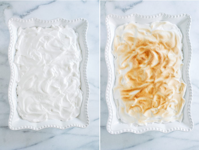 Southern Style Vegan Banana Pudding- creamy vanilla pudding with fresh slices of banana and a light and fluffy meringue topping. No one will know it's made without eggs!