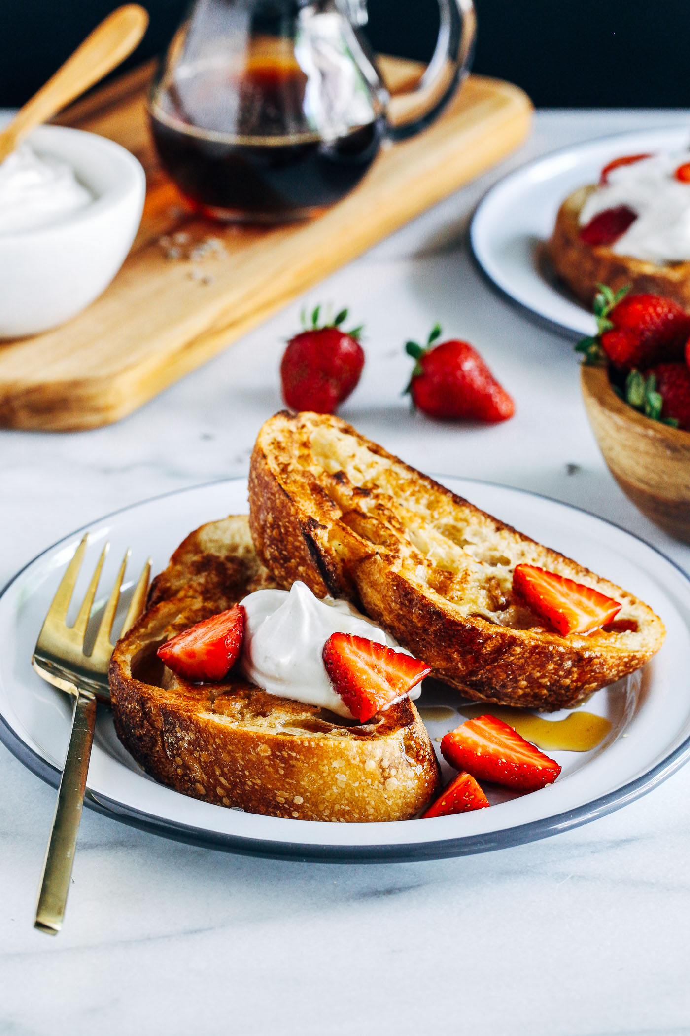 Vegan French Toast With Lavender Infused Syrup Making