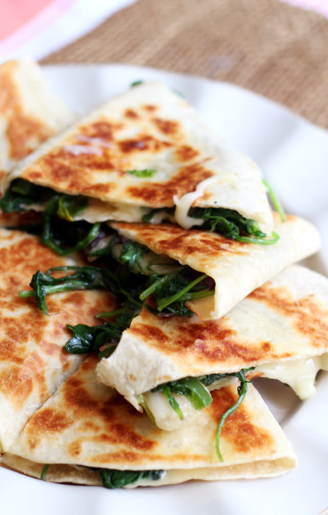 Greens, Jalapeno, and Brie Quesadillas from Eats Well With Others