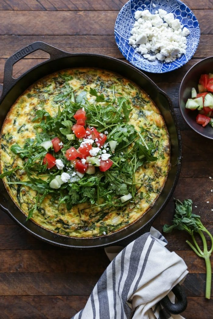 Zucchini Arugula Feta Frittata from The Roasted Root