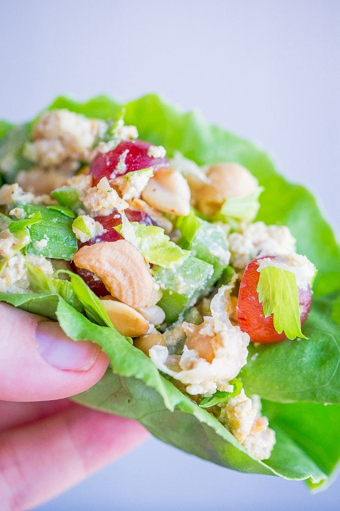10 Minute Curried Chickpea Tofu Lettuce Wraps from She Likes Food