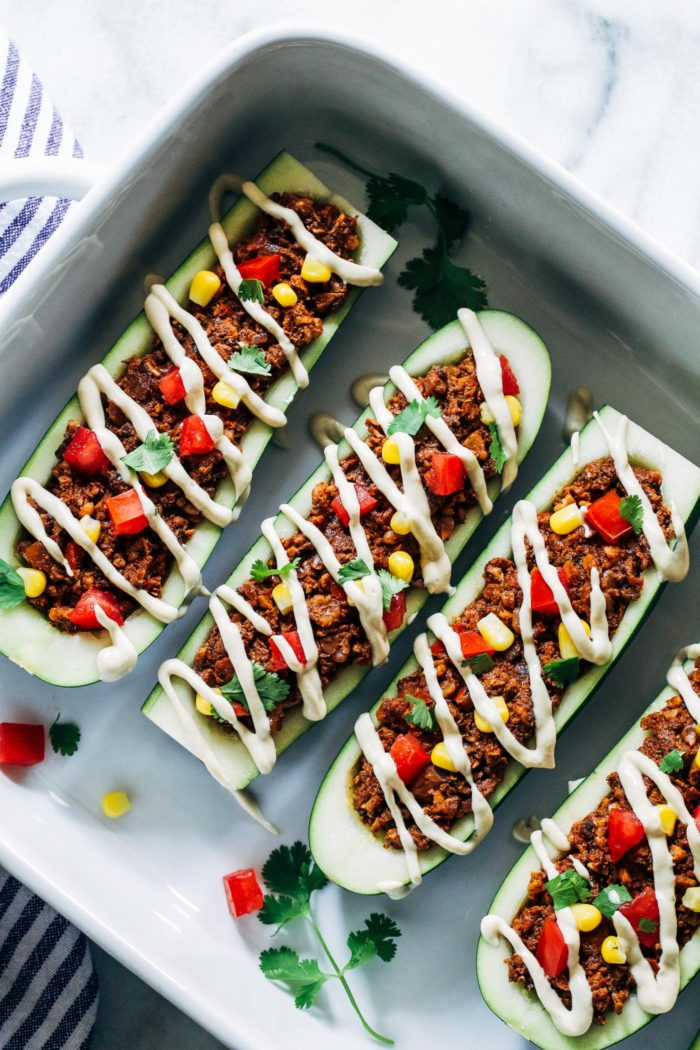 Vegan Zucchini Taco Boats from Making Thyme for Health