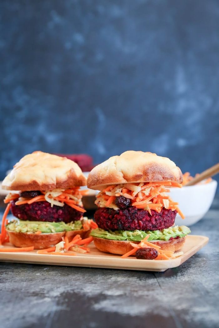 Beet and Black Bean Burgers with Carrot Slaw from The Roasted Root