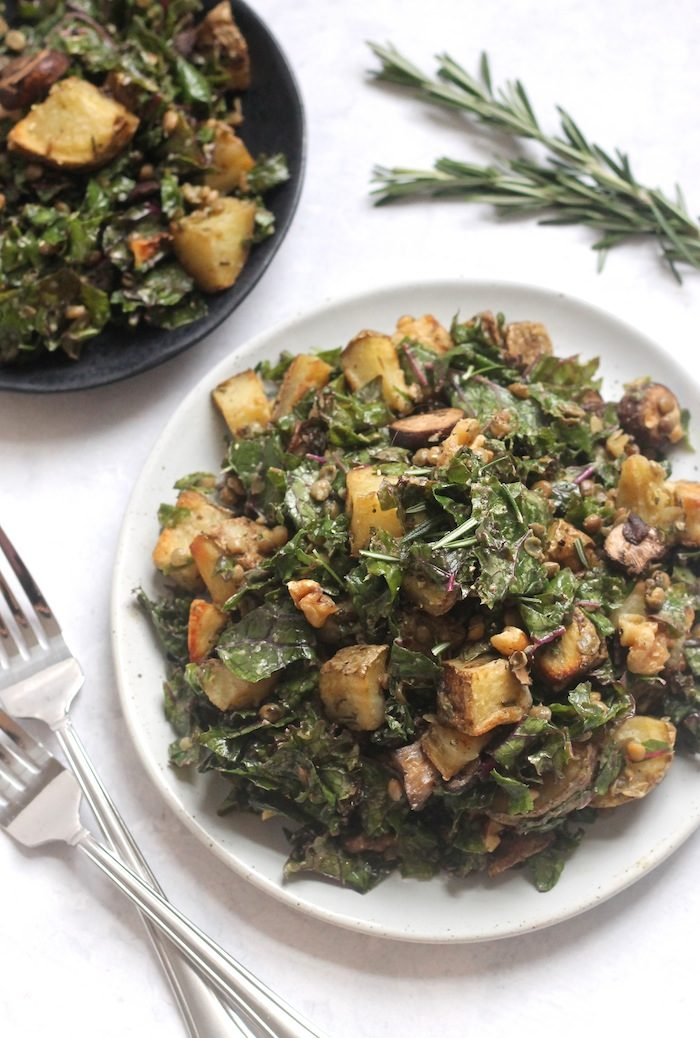 Rosemary Roasted Potato, Mushroom, Lentil and Kale Salad from Hummusapien